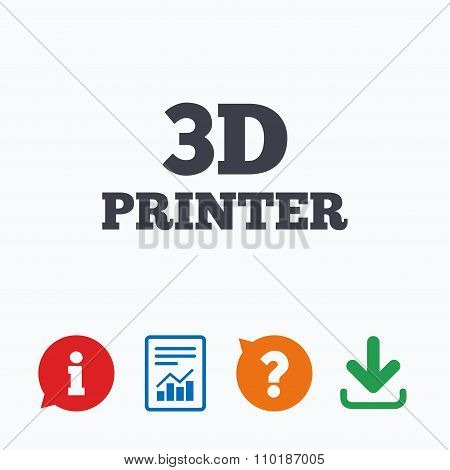3D Print sign icon. 3d Printing symbol.