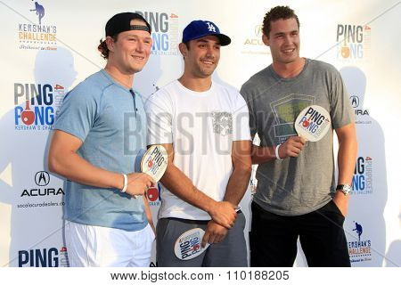 LOS ANGELES - JUL 30:  Tyler Toffoli, Alec Martinez, Brayden McNabb at the Clayton Kershaw's 3rd Annual Ping Pong 4 Purpose at the Dodger Stadium on July 30, 2015in Los Angeles, CA