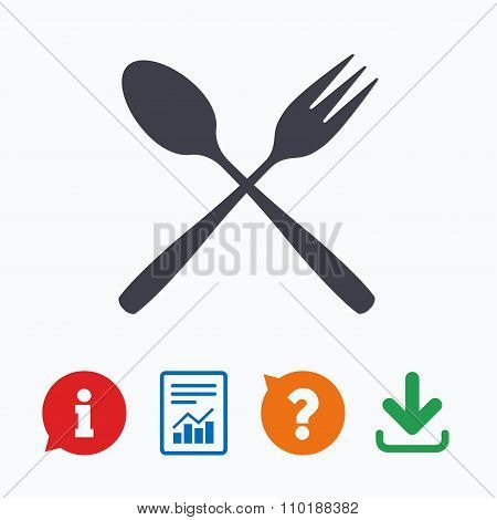 Eat sign icon. Dessert fork and teaspoon.