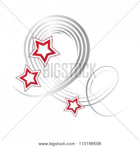 Decoration element with silver grey curved lines and red stars