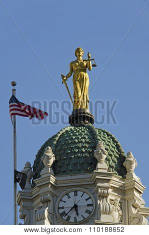 Lady Justice atop the cupola of Brooklyn Borough Hall