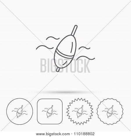 Fishing float icon. Bobber in waves sign.