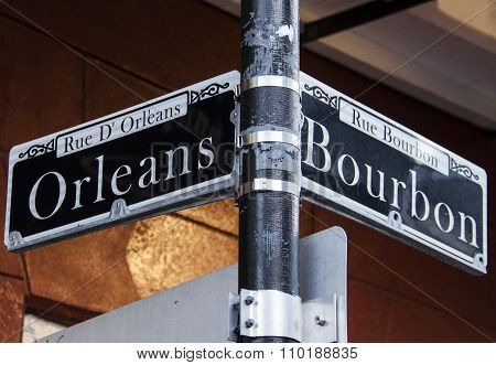 Orleans and Bourbon Streets Sign in New Orleans
