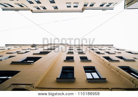 Bottom view to vintage old buildings