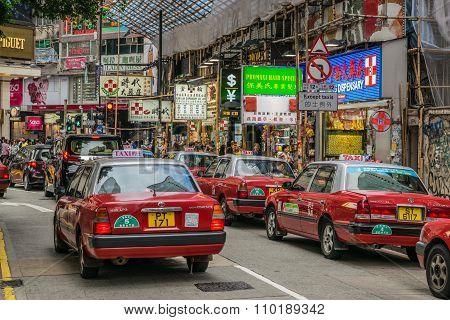 Taxi near Causeway Bay MTR station, Hong Kong, China