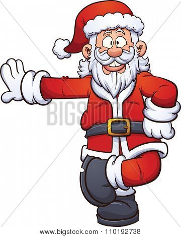 Cartoon Santa Claus leaning on something. Vector clip art illustration with simple gradients. All in a single layer.