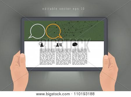 Tablet with business article. vector