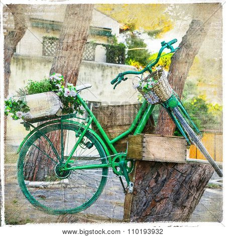 charming street decoration with old bikes