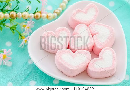 Sweet Heart Shape Of Marshmallows.