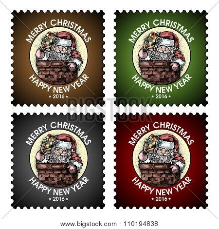 Vector Christmas Postage Stamp Santa Claus Illustration Collection