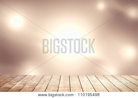 Abstract Dodge Brown Background And Wood Shelf.