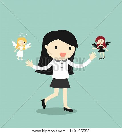 Business concept, Business woman with angel and devil. Vector illustration.