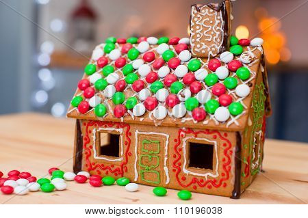 Candy ginger house background Christmas tree lights