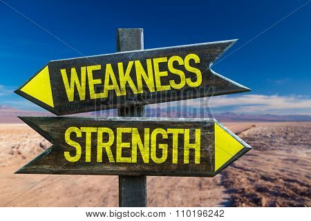 Weakness - Strength signpost in a desert background