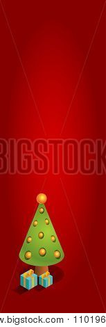 Isometric Christmas Tree Red Long Vertical