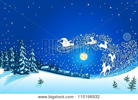 Santa Sleigh Silhouette and Christmas Nihgt Landscape