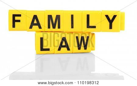 Objects regarding child-custody and divorce concept, isolated on white