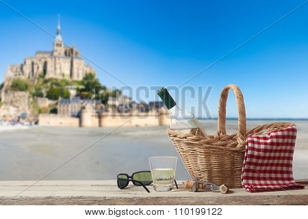 Picnic In France With Le Mont Saint Michel In The Background