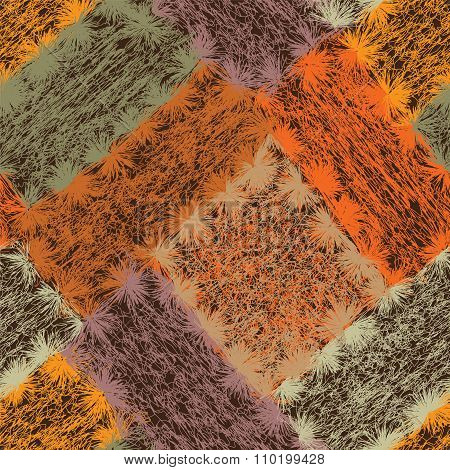 Seamless Pattern With Colorful Weave Grunge Striped Rectangular Elements