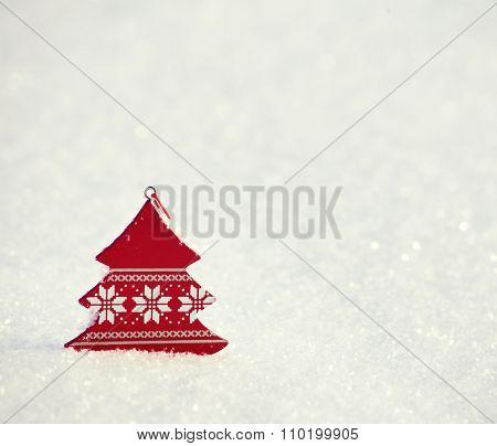 Christmas decoration. Christmas tree on snow