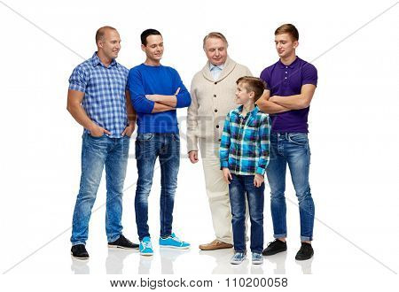 male, gender, generation and people concept - group of smiling men and boy