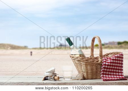 Picnic In France With Beach In The Background