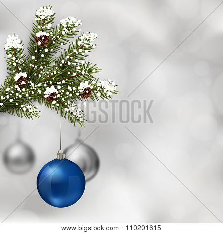 Blue and silver Christmas balls with fir tree branch on abstract light grey background. Xmas greeting card. Vector eps10 illustration