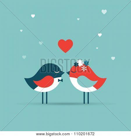 Valentine's day, love greeting card, wedding invite with birds