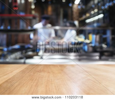 Table Top Counter Blur Kitchen And Chef Cooking Background