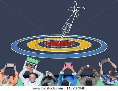 Target Aim Dot Objective Achievement Dartboard Goal Concept