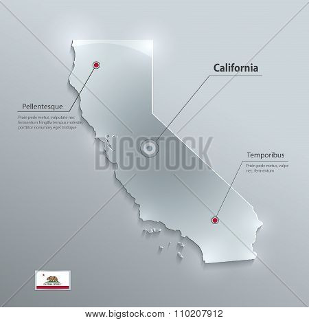 California map flag glass card paper 3D vector