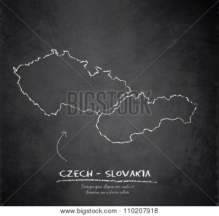 Czech Slovakia map blackboard chalkboard vector Czechoslovakia separate maps