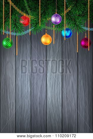Holiday Decorated Evergreen On Wood