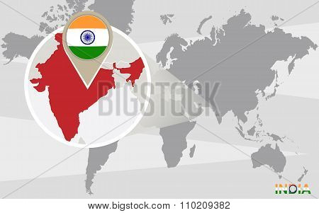 World Map With Magnified India