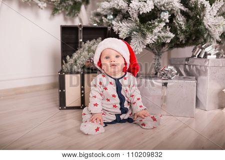 Beautiful Little Baby Celebrates Christmas