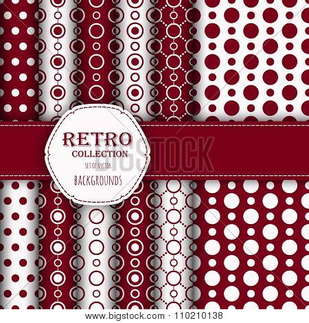 Collection of jumbo and small polka dots seamless patterns in red, and white.