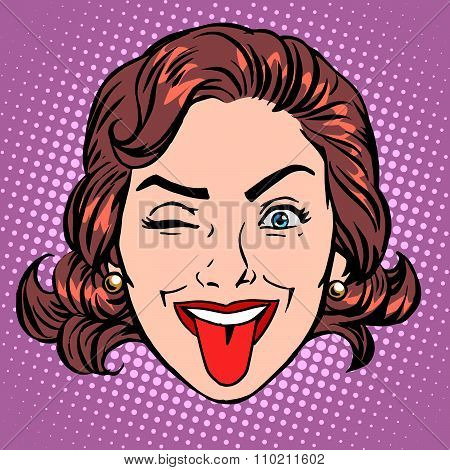 Retro Emoji tongue woman face