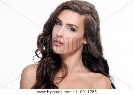 young brunette green eyes woman beauty portrait, studio shot