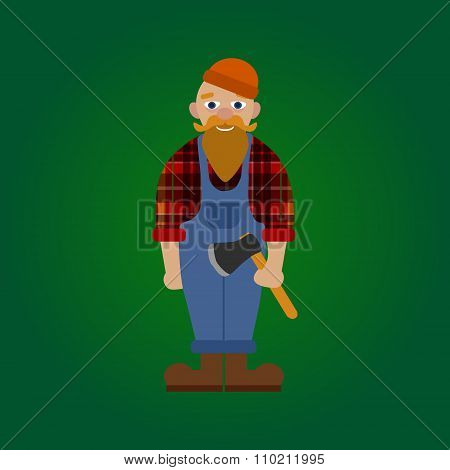 Vector flat lumberjack on green gradient background