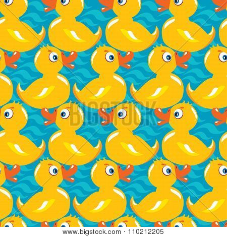 Seamless Pattern With Yellow Ducks, Childish Background