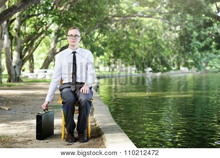 Businessman Sitting Chair Forest Green Concept