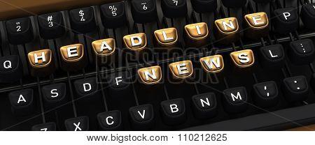 Typewriter with HEADLINE NEWS buttons
