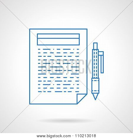 Blue line article vector icon