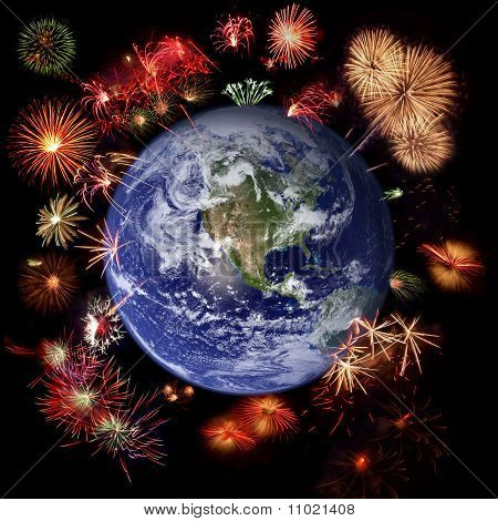 Fireworks Around Earth