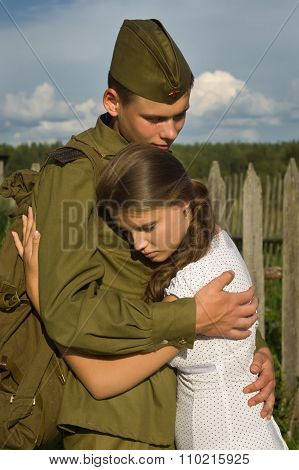 Soviet Soldier Saying Goodbye To Girl