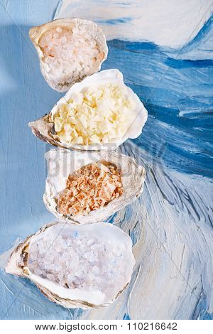 Blue persian,  red chili, lemon, hawaiian pink   sea salt in sea shell oyster on blue abstract painted background