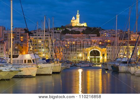 Yachts In Marseille Port At Night