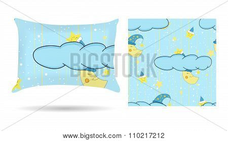 Cute Children Decorative Pillow With Patterned Pillowcase In Cartoon Style Blue Background. Isolated