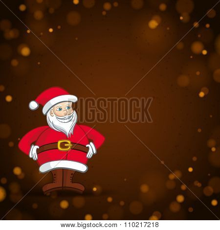 Santa Claus on a Corner of the Brown Light Background