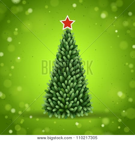 Christmas Tree on a Green Sparkling Background